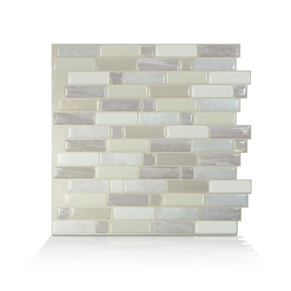 Smart Tiles Smart Tiles Crescendo Ciotta 9.73 in. W x 9.36 in. H Taupe Peel and Stick Decorative Mosaic Wall Tile Backsplash (4-Pack), Brown