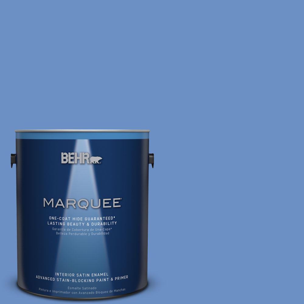 1 gal. #HDC-MD-02 Lapis Lazuli One-Coat Hide Satin Enamel Interior Paint