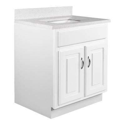 24 in. x 21 in. x 30 in. 2-Door Bath Vanity in White w/ 4 in. Centerset Snowdrift Quartz Vanity Top w/ Basin in White