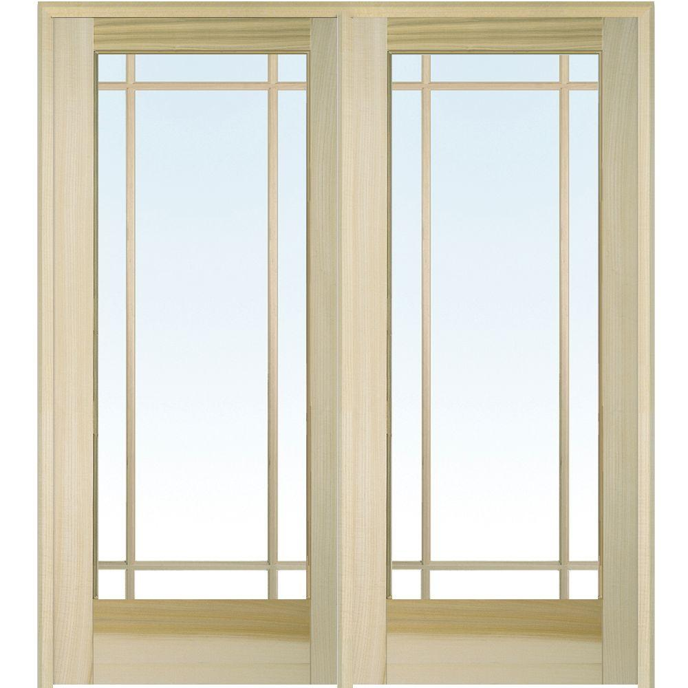 MMI Door 60 In. X 80 In. Left Hand Active Unfinished Poplar Glass 9 Lite  Clear True Divided Prehung Interior French Door Z009507L   The Home Depot