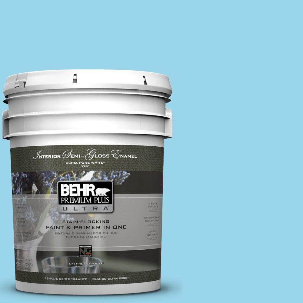 BEHR Premium Plus Ultra 5-gal. #P490-2 Blue Sarong Semi-Gloss Enamel Interior Paint