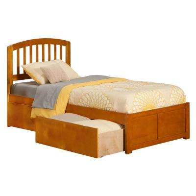 Richmond Caramel Twin Platform Bed with Flat Panel Foot Board and 2-Urban Bed Drawers