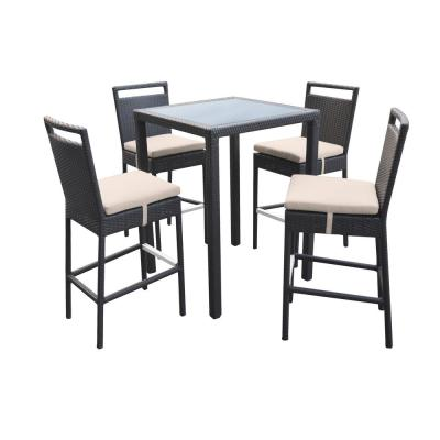 Tropez 5-Piece Metal Outdoor Bar Height Dining Set with Beige Cushions