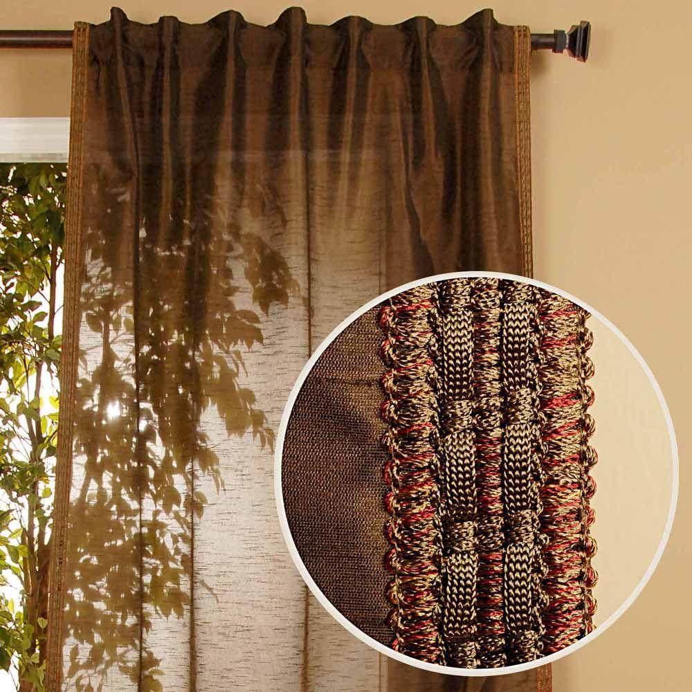 Home Decorators Collection Semi-Opaque Polysilk Moss Back Tab Curtain