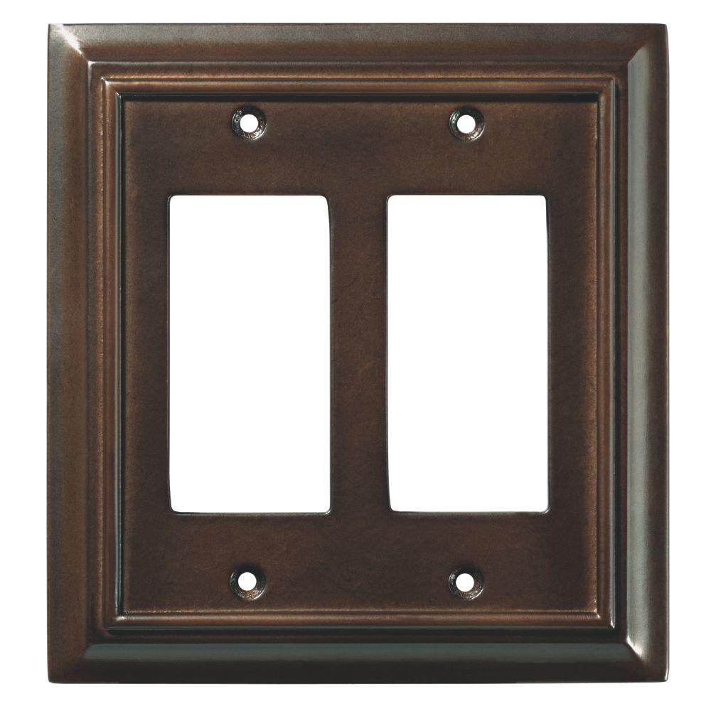 Architectural Wood Decorative Double Rocker Switch Plate, Espresso