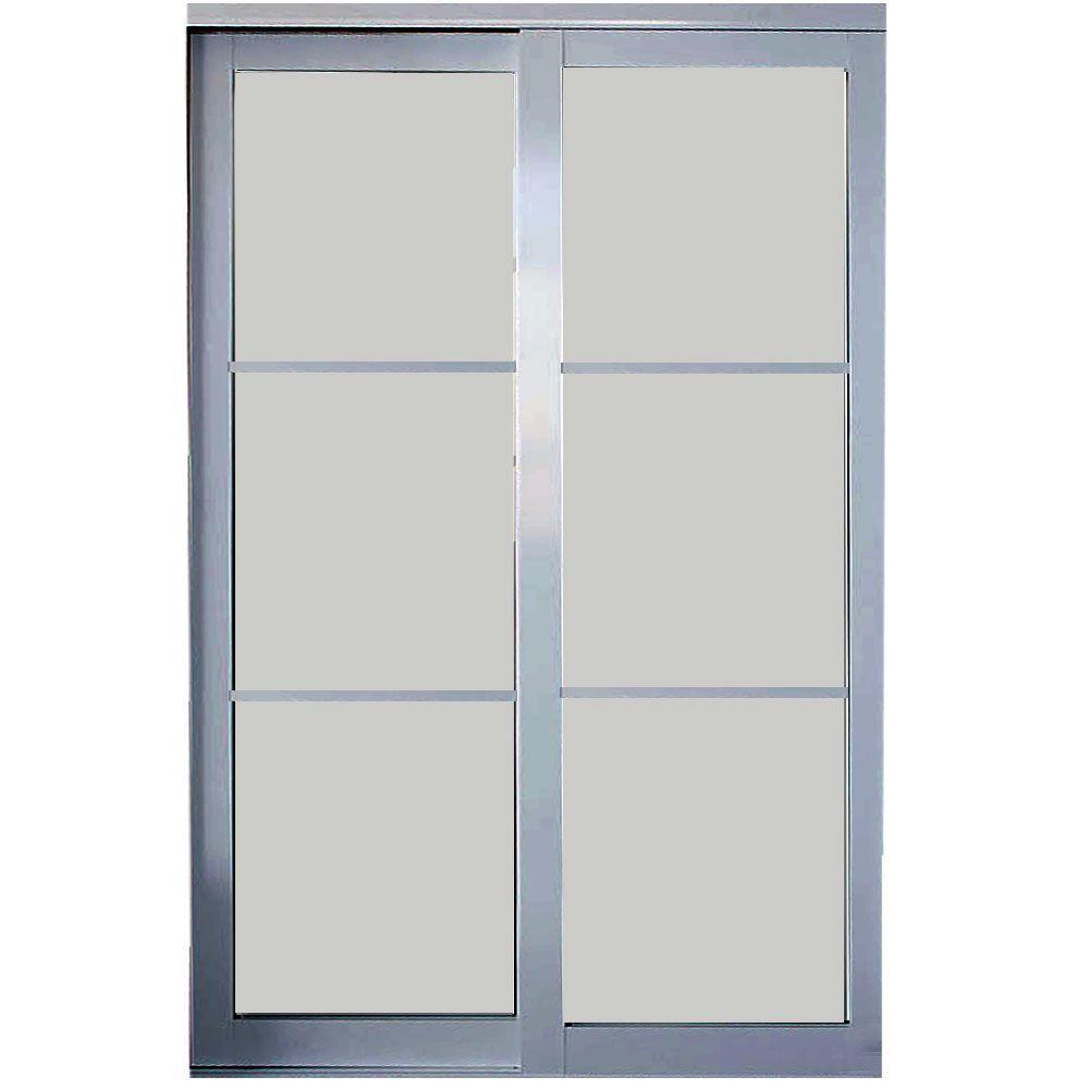 Contractors Wardrobe 60 in. x 81 in. Eclipse 3-Lite Mystique Glass Satin Clear Finish Aluminum Interior Sliding Door