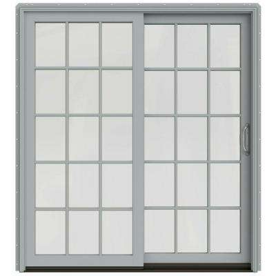 72 in. x 80 in. W-2500 Contemporary Silver Clad Wood Right-Hand 15 Lite Sliding Patio Door w/White Paint Interior