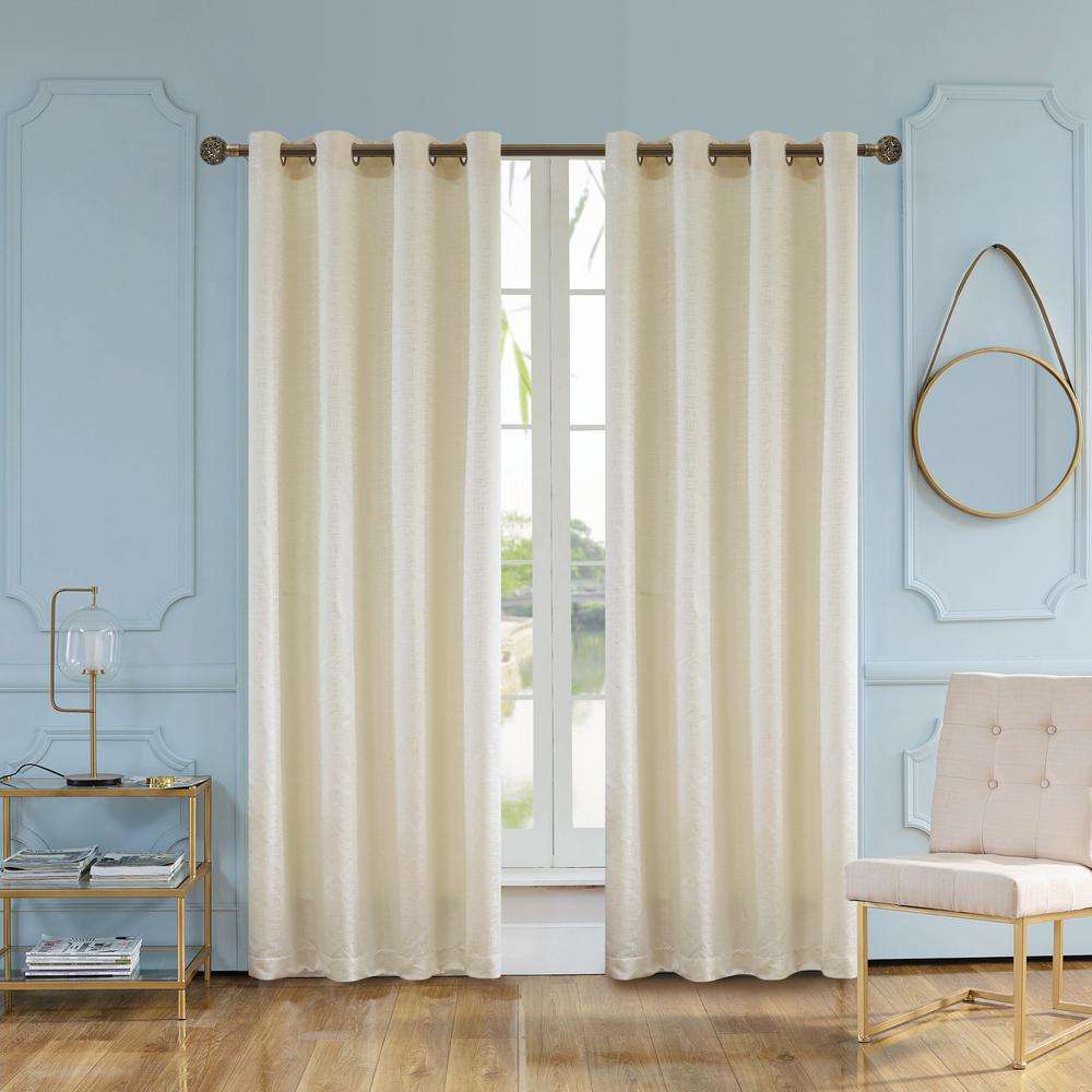 Elite 95 in. L x 54 in. W Semi-Opaque Room Darkening Polyester Curtain in Vanilla
