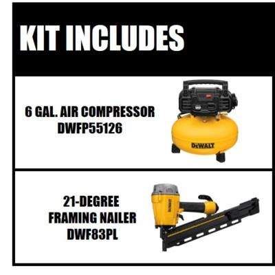 6 Gal. Electric Air Compressor with Bonus Pneumatic 21-Degree Collated Framing Nailer