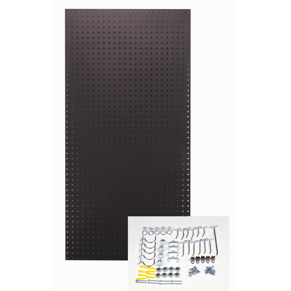 1/4 in. Custom Painted Jet Black Pegboard Wall Organizer with 36-Piece
