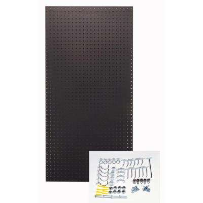 1/4 in. Custom Painted Jet Black Pegboard Wall Organizer with 36-Piece Locking Hooks