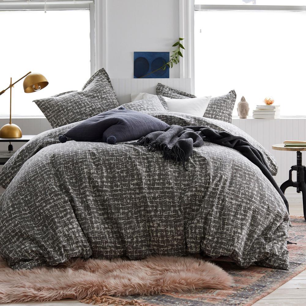 Brexton 3-Piece 200 Thread Count Cotton Percale Queen Duvet Cover Set in Bark