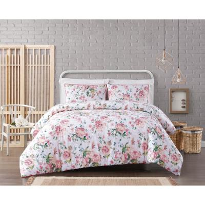 Blooms Floral Cotton Seersucker White and Pink 3-Piece Full/Queen Comforter Set