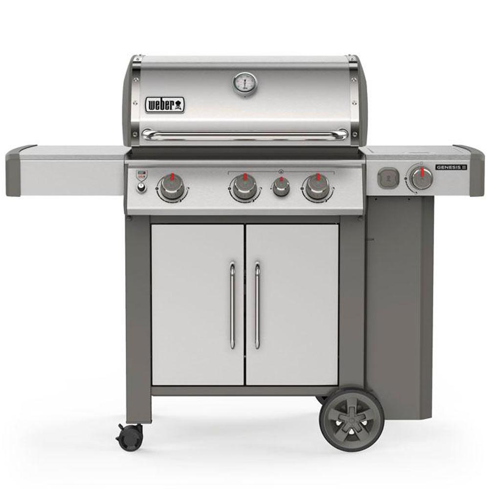 Weber Genesis Ii S 335 3 Burner Propane Gas Grill In Stainless Steel 61006001 The Home Depot