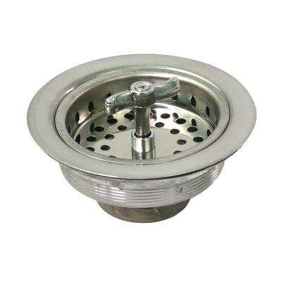 3-1/2 in. - 4 in. Kitchen Sink Spin and Seal Stainless Steel Drain Assembly with Strainer Basket - Threaded Stopper