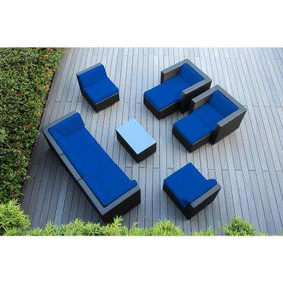 Black 10-Piece Wicker Patio Seating Set with Spuncrylic Blue Cushions