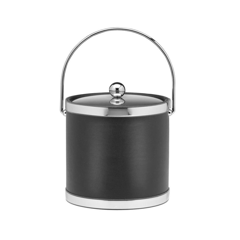 Kraftware Sophisticates 3 Qt. Black w/Polished Chrome Ice Bucket with Bale Handle, Metal Cover