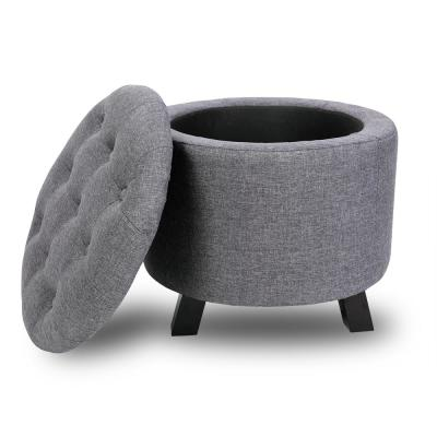 Gray Storage Ottoman Set Round 20 in. Tufted Footrest Holds Up to 450 lbs.
