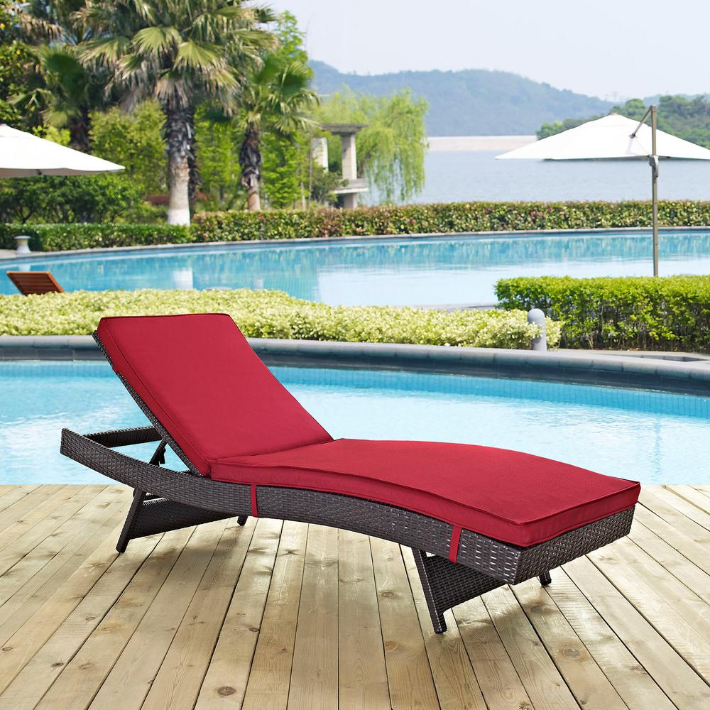 Modway Convene Wicker Outdoor Patio Chaise Lounge In Espresso With Red Cushions