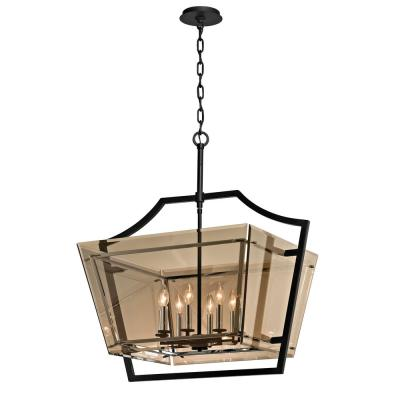 Domain 8-Light Forged Iron and Polished Chrome Pendant with Plated Topaz Glass Shade
