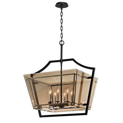 classic pendant lighting lights domain 8light forged iron and polished chrome pendant with plated topaz glass shade classic black browntan lights lighting the home depot