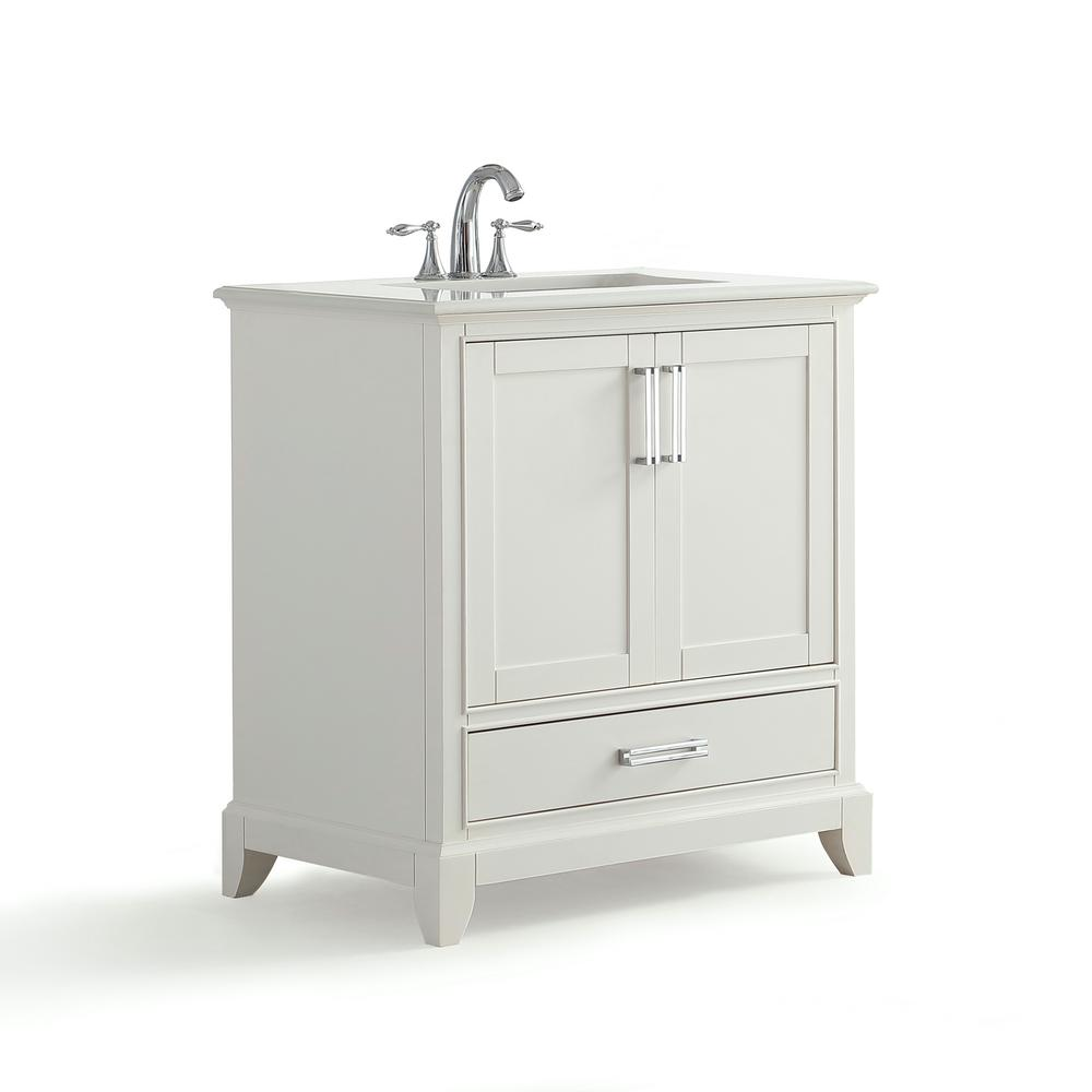 Simpli Home Elise 30 in. W x 22 in. D Bath Vanity in Soft White with Quartz Marble Vanity Top in Bombay White with White Basin was $971.84 now $489.0 (50.0% off)