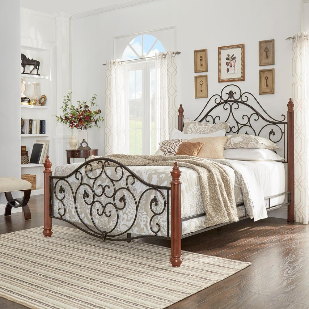 HomeSullivan Black & Brown Queen Bed Frame