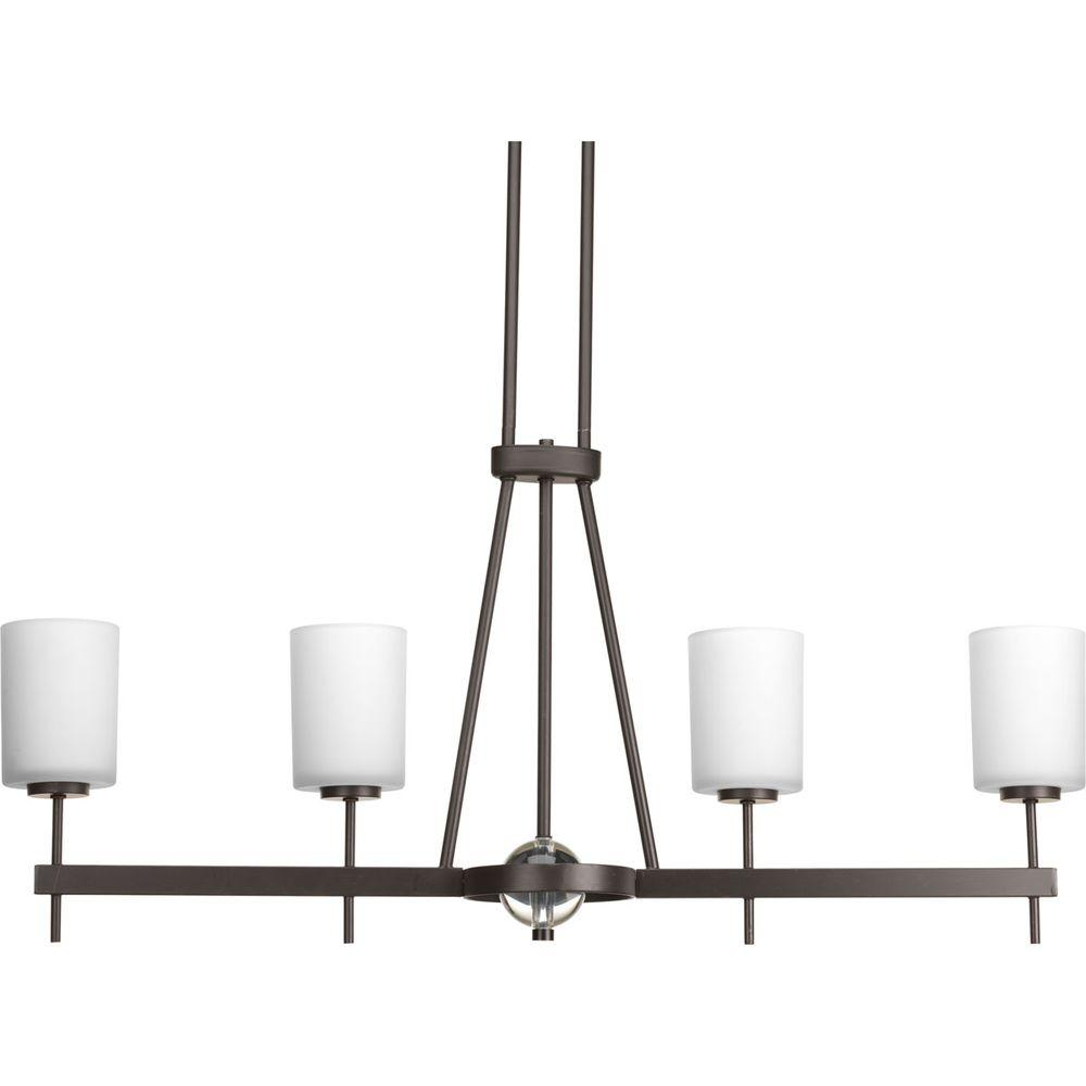 Progress Lighting Compass Collection 4-Light Antique Bronze Chandelier with Opal Etched Glass