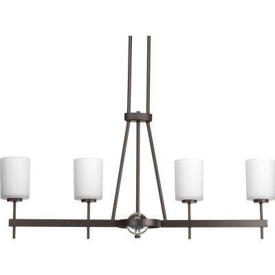 Compass Collection 4-Light Antique Bronze Chandelier with Opal Etched Glass