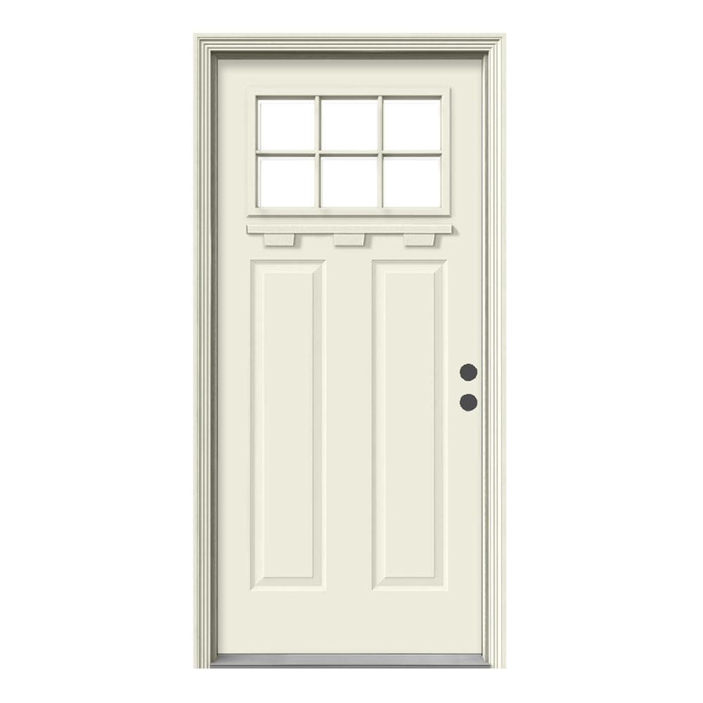 Jeld wen 36 in x 80 in 6 lite craftsman primed steel for Exterior door plans