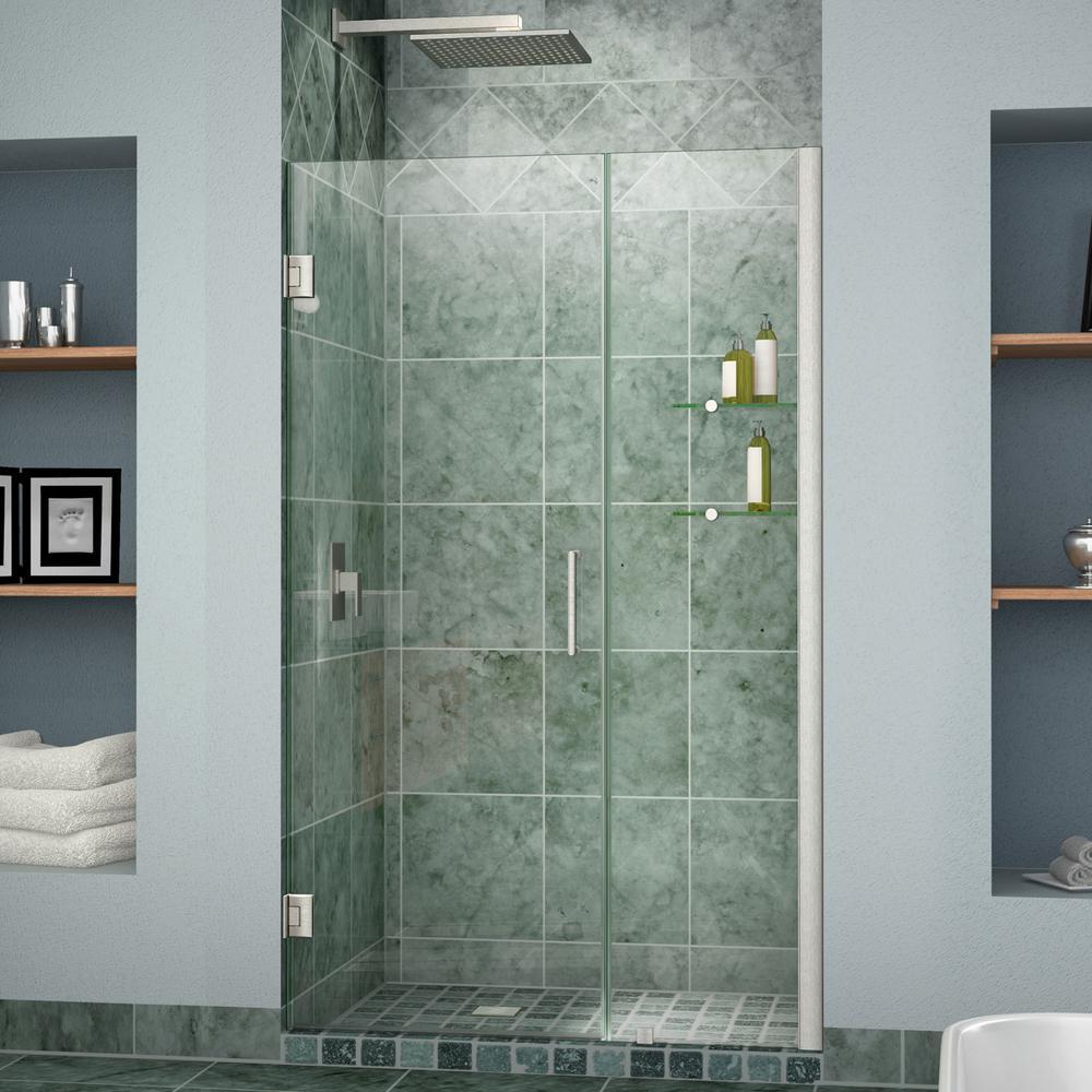 DreamLine Unidoor 42 to 43 in. x 72 in. Frameless Hinged Pivot Shower Door in Brushed Nickel with Handle