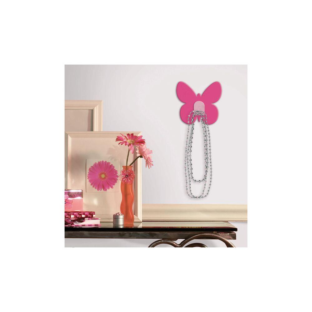 RoomMates 2.875 in. Bright Pink Butterfly Magic Hook Wall Graphic
