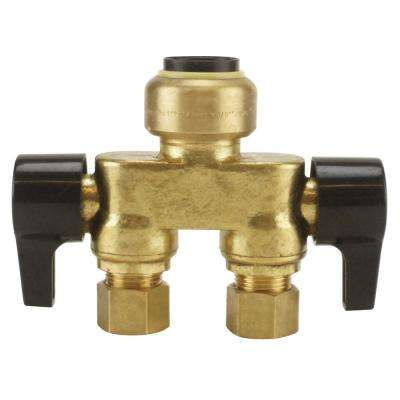 1/2 in. Brass Push-To-Connect x 3/8 in. OD Compression Dual Inline Outlet Dual Shut-Off Quarter-Turn Stop Valve