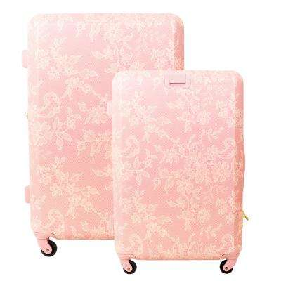 Lace Texture Hard Sided 29 in. and 21 in. 2-Piece Blush Pink Luggage Set