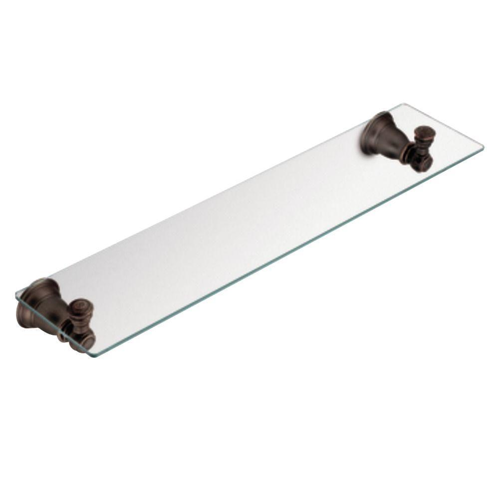 Kingsley 5-1/4 in. L x 2-9/10 in. H x 22-3/4 in. W Wall-Mount Clear Glass Shelf in Oil Rubbed Bronze