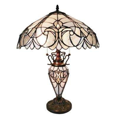 23 in. Tiffany Style Floral Finish Double Lit Table Lamp