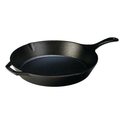 13.25 in. Cast Iron Skillet in Black with Pour Spout