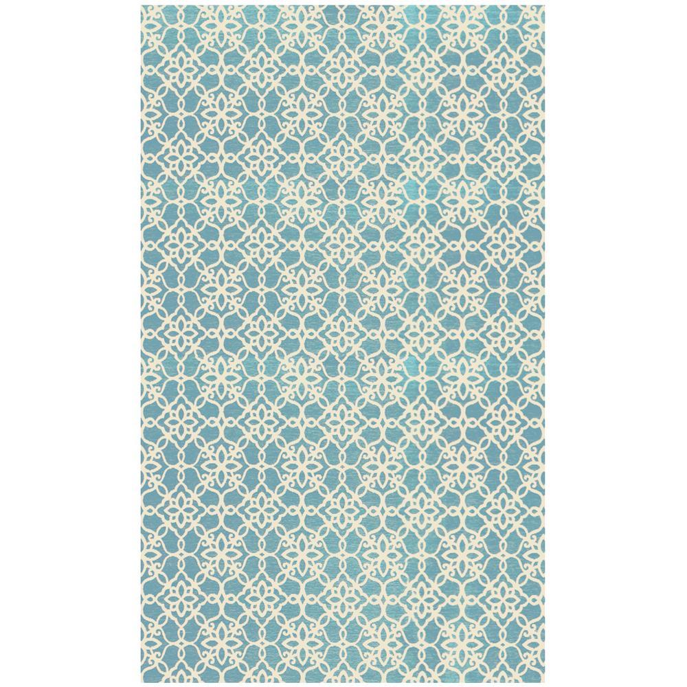 Washable Floral Tiles Aqua Blue 3 ft. x 5 ft. Stain Resistant Area Rug