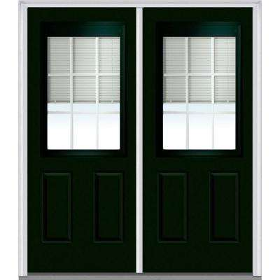72 in. x 80 in. Internal Blinds and Grilles Right-Hand Inswing 1/2-Lite Clear 2-Panel Painted Steel Prehung Front Door