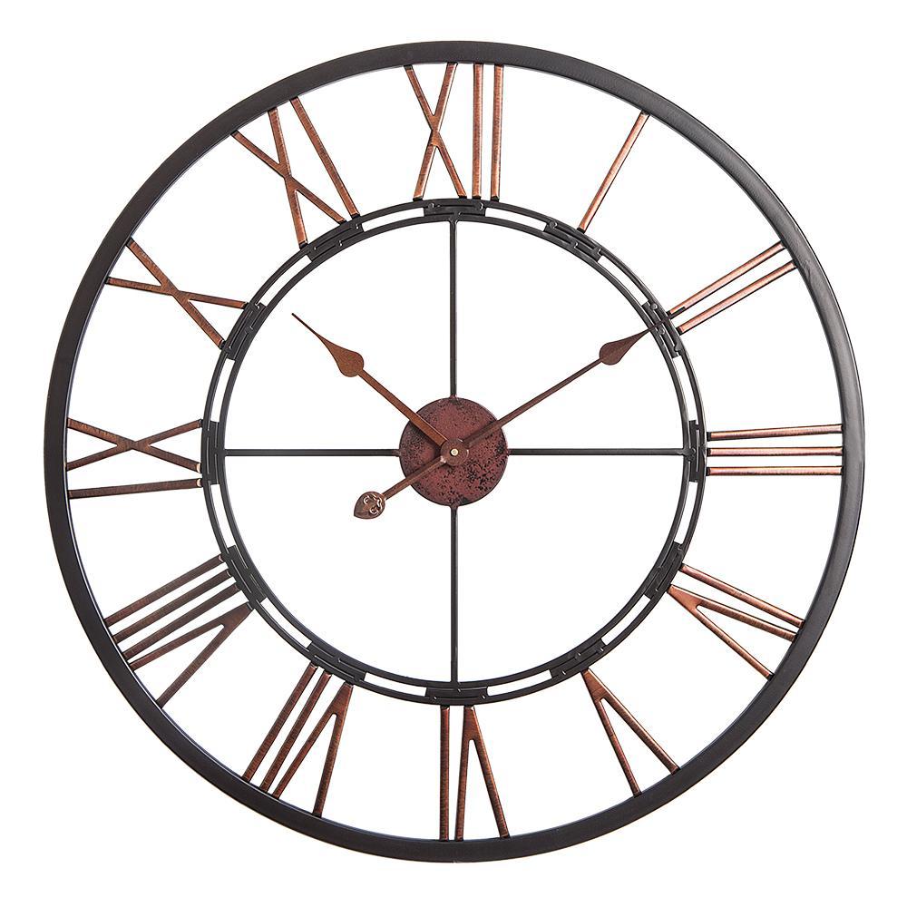 """Utopia Alley Oversized Roman Round Wall Clock, 28"""" Diameter, Dark Bronze finish"""