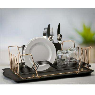 Contemporary 3-Piece Rose Gold Dish Rack Set
