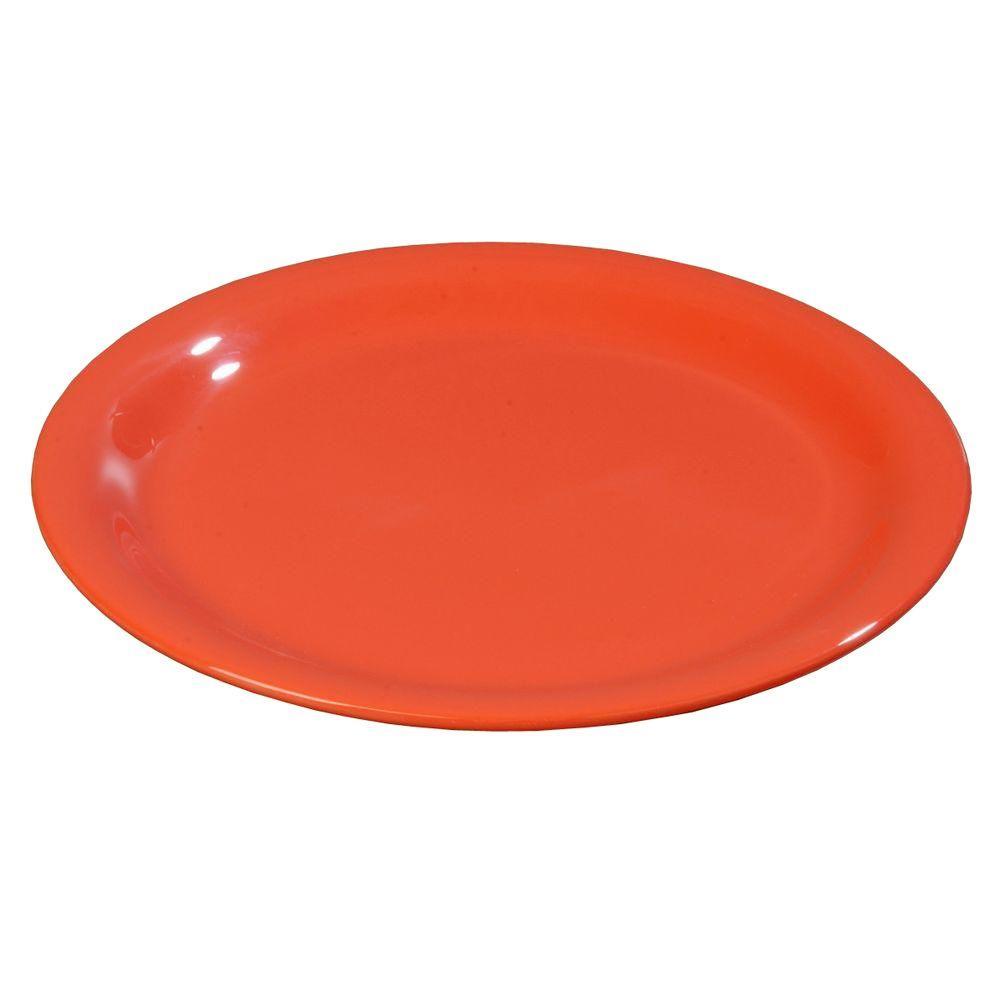 9 in. Diameter Melamine Narrow Rim Dinner Plate in Sunset Orange (Case of 24)