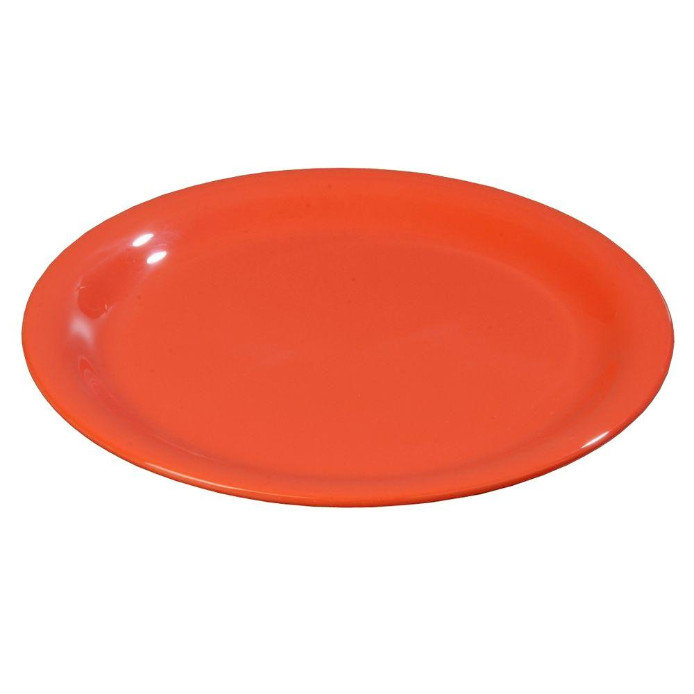 9 in. Diameter Melamine Narrow Rim Dinner Plate in Sunset Orange