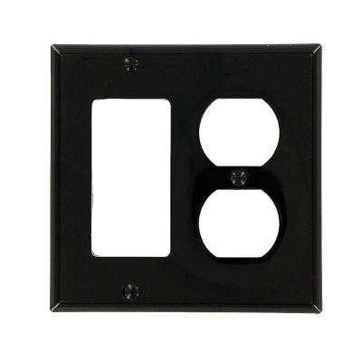 2-Gang Standard Size 1-Duplex Receptacle 1-Decora  Nylon Combination Wall Plate, Black
