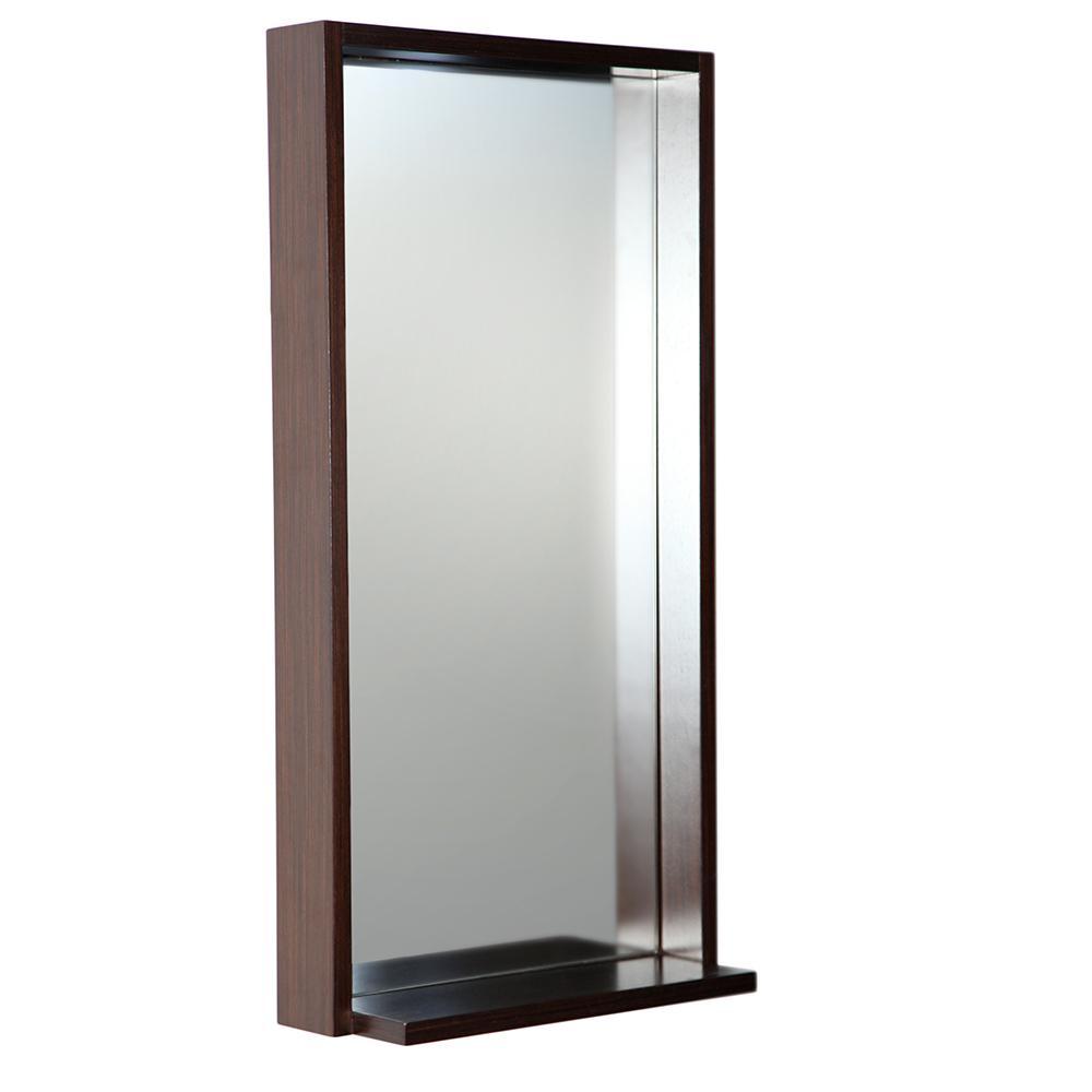 Allier 16 in. W x 31.50 in. H Framed Wall Mirror with Shelf in Wenge
