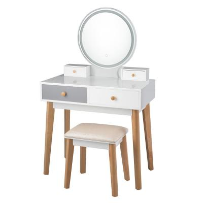 2-Piece White Grey Vanity Table with Color Lighting Modes Makeup Table and Stool Set Jewelry Divider (Set 3)