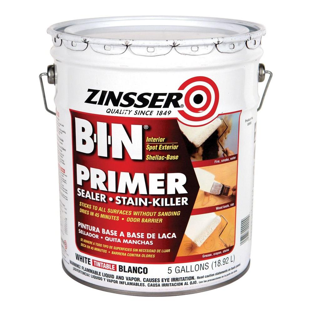 Zinsser 5 Gal B I N Shellac Based White Interior Spot Exterior Primer And Sealer 00900 The