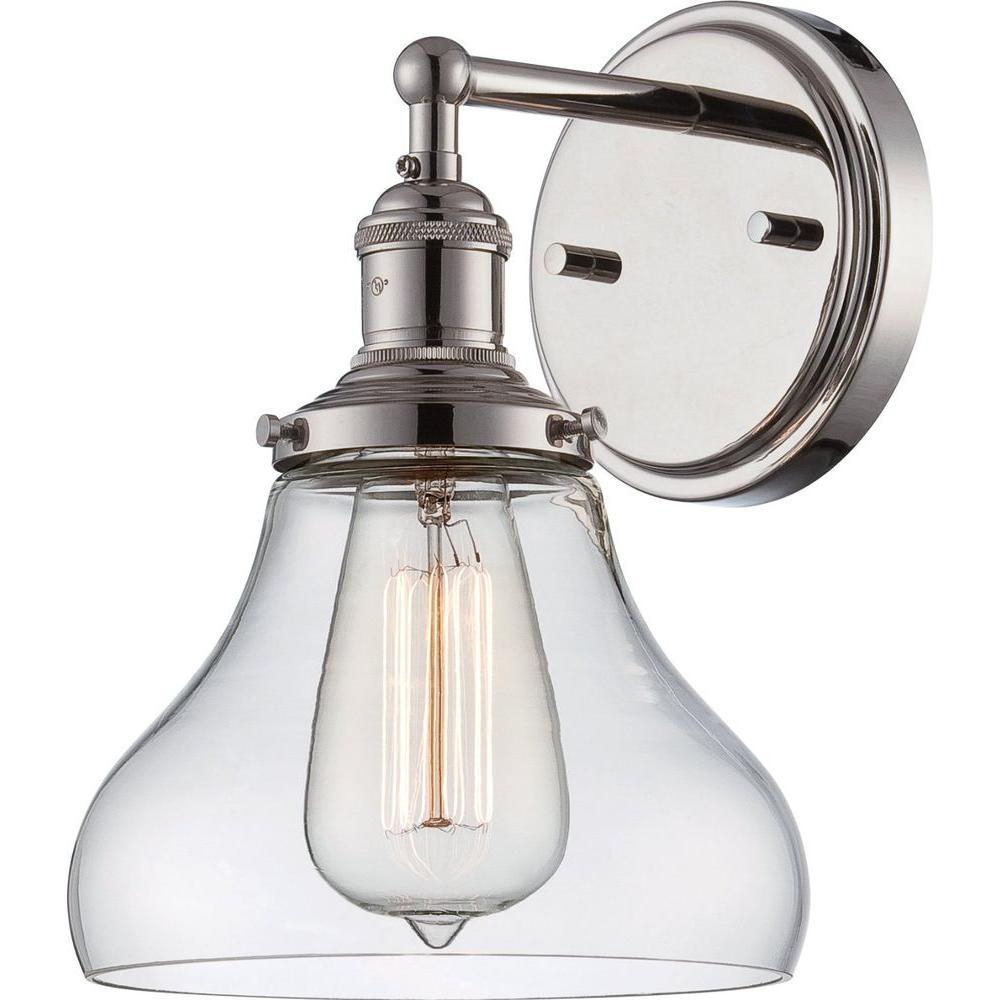 Glomar 1-Light Polished Nickel Incandescent Sconce
