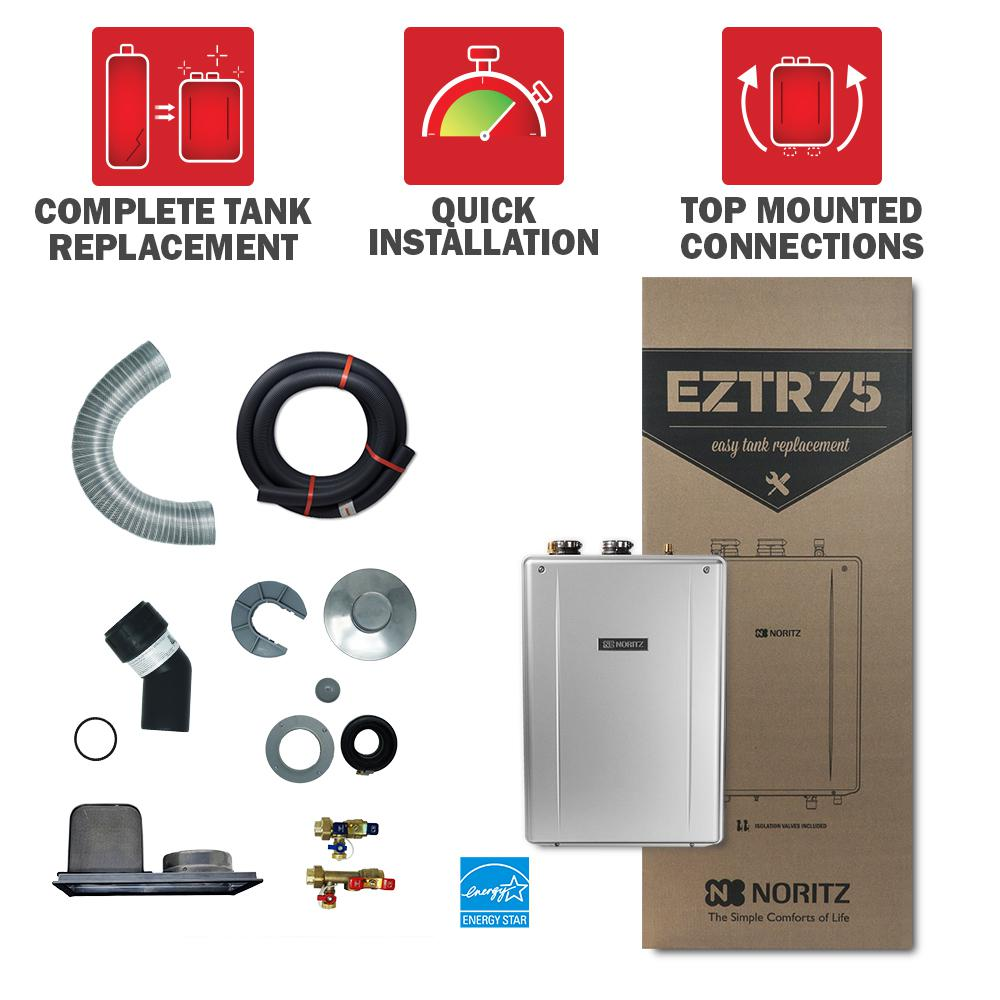 Noritz 75 Gal Tank Replacement Natural Gas Hi Efficiency Indoor Tankless Water Heater