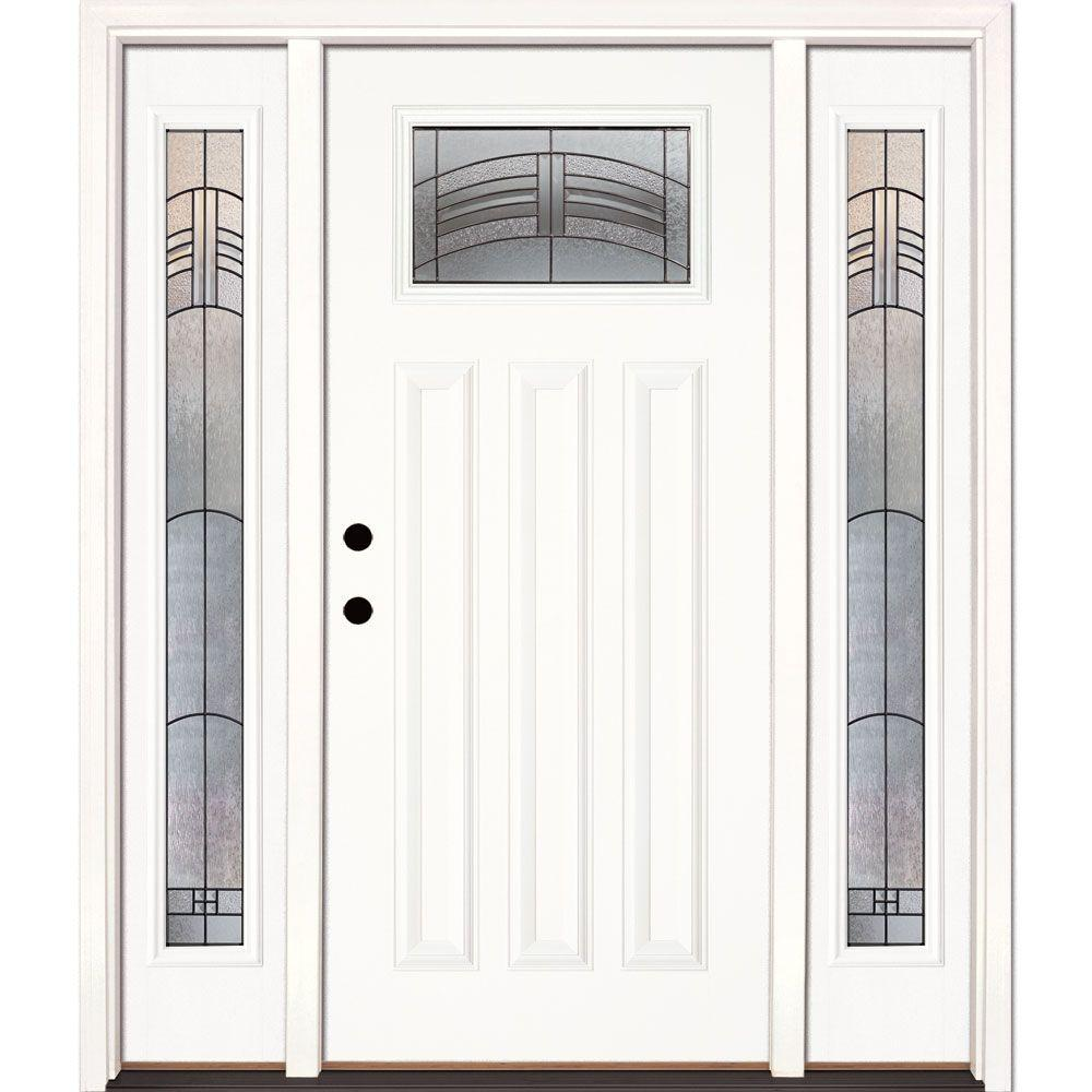 Feather River Doors 63.5 in. x 81.625 in. Rochester Patina Craftsman Unfinished Smooth Right-Hand Fiberglass Prehung Front Door w/ Sidelites